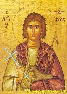 Greek orthodox icon of Saint Mamas, protector of animals Byzantine Art, Byzantine Icons, Religious Icons, Religious Art, Archangel Raphael, Raphael Angel, San Mamés, Catholic Saints, Orthodox Icons
