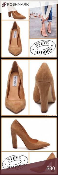 """JUST INSUEDE POINTY TOE PUMP ▪️Suede upper ▪️Pointed toe ▪️4¼"""" covered block heel ▪️Synthetic sole   2+ BUNDLE=SAVE  ‼️NO TRADES--NO HOLDS--NO MODELING   Brand Authentic  ✈️ Ship Same Day--Purchase By 2PM PST   USE BLUE OFFER BUTTON TO NEGOTIATE   ✔️ Ask Questions Not Answered In Description--Want You To Be Happy! Steve Madden Shoes Heels"""