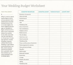 customizable (and free) wedding spreadsheets. we've done all the heavy lifting to bring you some serious, customizable, (free) wedding spreadsheet action . Wedding Budget Worksheet, Wedding Budget Spreadsheet, Printable Budget Worksheet, Wedding Planner Binder, Wedding Expenses, Budgeting Worksheets, Budget Wedding, Free Printable, Wedding Planners