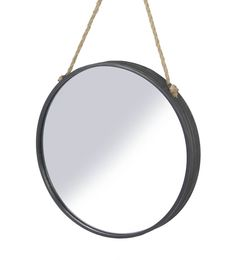Parlane Wall Hanging Metal & Glass Black Mirror - 35cm