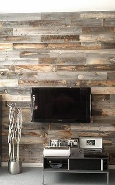 Dramatically Improving Your Space: Stikwood Wood Wall Decor. I'm in love with this Stikwood. Wood Planks, Wood Paneling, Wood Panel Walls, Plank Walls, Wood On Walls, Timber Walls, Wood Beams, Wood Feature Walls, Paneling Painted