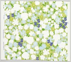 Sidewall, 'Pasture Flowers'   USA, 1960-1966   Screen-printed on paper   Impressionistically-rendered field flowers including violets, with foliage,all vertically oriented, scattered over flat color ground. Grayed-green background, white, baby-blue, chartreause and purple flowers with emerald- green foliage   Cooper-Hewitt