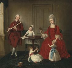 Johan Joseph Zoffany Portrait Of Mr. James Blew And Their Three Children In An Elegant Interior Oil Painting Reproductions for sale Renaissance, Creepy Kids, Creepy Children, Children Toys, Family Painting, 18th Century Fashion, 19th Century, Oil Painting Reproductions, Three Kids
