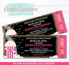 Celebrating with a pink and gold glitter under the stars backyard movie night or movie theater birthday party soon? Invite your guests in style with this custom and affordable pink and gold under the stars movie ticket birthday invitation. This design is characterized by it's ticket style, popcorn, film and gold stars art work. Party packages available!