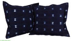 2 Indigo Cloth Pillows Mali African 16 x 16 inch