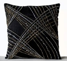 of July SALE Throw Pillow Covers in Black with by AmoreBeaute covers silk Black Throw Pillow Cover, Black Silk Decorative Pillow Cover, Beads Sequin Pillow, Geometric Pillow Covers, Modern Pillow Modern Pillow Covers, Couch Pillow Covers, Modern Pillows, Decorative Pillow Covers, Cushion Covers, Sequin Cushion, Sequin Pillow, Silk Pillow, Bolster Pillow