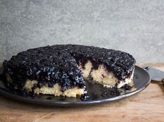 A thick, jammy layer of blueberries tops dense, buttery cake in this summer recipe from Robert and Cheri Ward of Blue Pearl Farms in McClellanville, South Carolina.