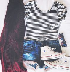 Stripped shirt with maroon cardigan sweater, jean shorts with lacy detail and high top converse