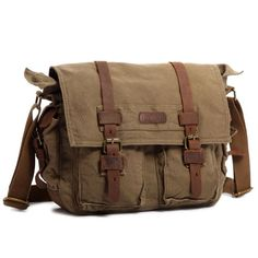 Kattee® British Style Retro Mens Canvas + Leather Messenger Traval Shoulder Bag Fits 14.7 Inch Laptop (Army Green)