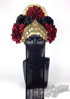 MADE TO ORDER: This headdress can be made in ANY COLOR SCHEME you choose. **This particular piece has had the metal painted gold. It can be left