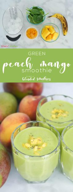 This delicious Green Peach Mango Smoothie tastes like a tropical treat and is a healthy and nutrient-rich was to begin your day. Oatmeal Smoothies, Healthy Smoothies, Healthy Drinks, Healthy Recipes, Side Recipes, Lunch Recipes, Healthy Snacks, Breakfast Recipes, Dinner Recipes