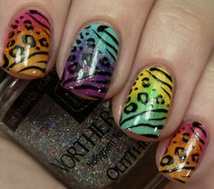 "How to: Use ""ombre"" design (how ombre: use a old soft sponge do stripes on sponge with polish then print on nails) For the animal print you can buy stickers or nail dress. Or you can use nail polish."