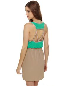 Nice back detail/cutout - Danielle's Diner Taupe and Teal Dress