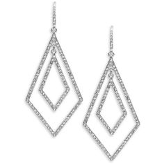 A.B.S. By Allen Schwartz Prom Queen Double Geometric Pavé Earrings (415 DKK) ❤ liked on Polyvore featuring jewelry, earrings, silver, geometric earrings, gold colored earrings, gold tone jewelry, gold tone earrings and earring jewelry