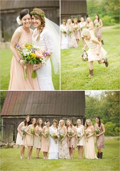 peach bridesmaid dresses. Love how it is the color that groups them, but each person has their own style. One dress typically does not look good on everyone.