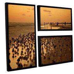 ArtWall Lindsey Janich Seagulls Iii 3-Piece Floater Framed Canvas Flag Set, Brown