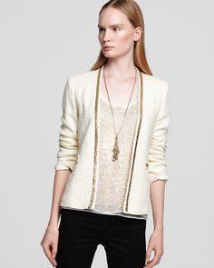 Aqua Jacket - Embellished Tweed | Bloomingdale's