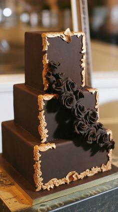 Chocolate and Gold Wedding Cake