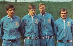April 1970. Four Leeds United players picked for England's 1970 World Cup squad; Norman Hunter, Allan Clarke, Jack Charlton and Terry Cooper.