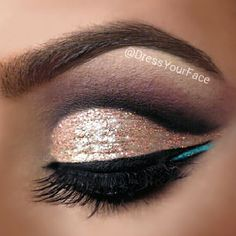 "Get this glitter look by using ""Electric Love"" & ""Goldie"" from @Violet Voss. Lashes by @Mo Del style 08.  #DressYourFace"
