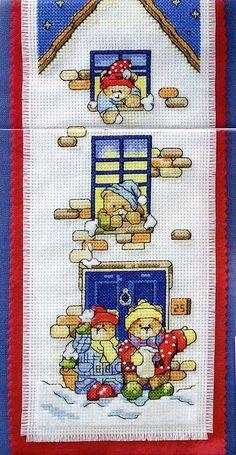 Schema punto croce Banner Orsetti 01