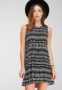 Ikat Print Babydoll Dress | FOREVER21 - Love Black and White Prints