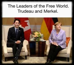 Justin Trudeau of Canada and Angela Merkel of Germany
