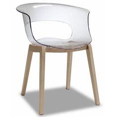 Silla de plástico y madera para cafetería, modelo MISS WOOD