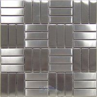 Diamond Tech Tiles - Stainless Steel - Parquet Mesh Mounted Sheets