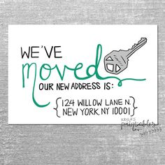 Moving announcement change of address new home by theyellownote weve moved card with custom address 4x6 printed card with envelope or digital pronofoot35fo Choice Image