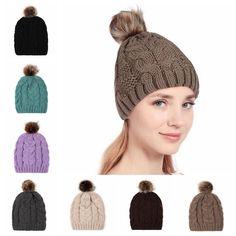 Ski Crochet Beret Women Knit Hat Fur Artificial Beanie Cap PomPom Ball 81022caace12
