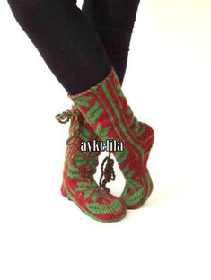 Christmas Gift Long Slippers Cozy Slippers Mukluk Wool by aykelila