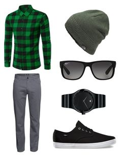 """""""Casual #3"""" by tragicallypsychotic ❤ liked on Polyvore featuring H&M, Movado, The North Face, Ray-Ban, men's fashion and menswear"""