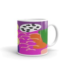 This is an 11oz coffee mug with original abstract art designed by me. This design was originally a sketch, that I loved so much, I wanted to drink my coffee out of it.•Dishwasher and microwave safeThis sturdy mug is perfect for your morning coffee, afternoon tea, or whatever hot beverage you enjoy. It's glossy white and yields vivid prints that retain their quality when dish-washed and microwaved.
