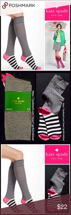 Kate Spade Knee High Boot Socks 💟 NEW WITH TAGS 💟  Kate Spade Tall Knee High Boot Socks  * Super soft & comfortable fabric * Opaque Knit construction (not sheer). * Stretch-to-fit * One size fits most; Pull on & to the knee style  Fabric: 67% Cotton, 31% Polyester & 2% spandex; Machine wash Item#KS91900 Color: Black, white & Pink combo  🚫No Trades🚫 ✅Bundle Discounts✅ kate spade Accessories Hosiery & Socks