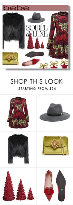 """""""Soirée de Luxe with bebe Holiday: Contest Entry"""" by depolo-marina ❤ liked on Polyvore featuring Marc by Marc Jacobs, Bebe, Glamorous, Dot & Bo and Pretty Ballerinas"""