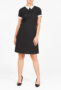 I <3 this Contrast collar cotton poplin shift dress from eShakti