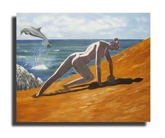 Athletic woman painting in oil  33x41i .Fine art wall decor,free shipping,gift for all