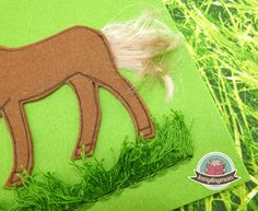 Quiet book, tactile book, tipp, horse tail, sewing