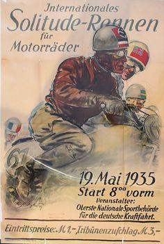 Solitude-Rennen für Motorräder 19.5.1935, Veranstaltungsplakat der obersten nationalen Sportbehörde für das internationale Solitude-Rennen 1935, Entwurf: Matejko,