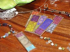 Pendants made from 2 sandwiched microscope slides & stained glass tape // solder