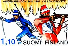 A stamp printed in the Finland shows Biathlon, Winter Sport, cross-county skiing and rifle shooting, circa 1980 Finland, Denmark, Stamps, Coupon, Sports, Character, Biathlon, Seals, Hs Sports
