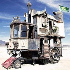 "Fantastic Steampunk house on wheels built by members of Academy of Unnatural Sciences in Berkeley,California (a ""DIY group of tinkerers, gearheads, and steam bohemians who fabricate steam-powered art pieces out of repurposed industrial detritus"")a self-propelled 3-storey Victorian House, is made from 75 per cent recycled equipment and materials, with interiors, operating system,The Haul measures 24 feet long by 24 feet high and 12 feet wide and is built on the base of a 5th wheel travel…"