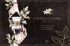 My new collection for those who appreciates not only the taste, but also the culture of coffee. Coffee as a lifestyle. Menu templates, illustrations and Plant Illustration, Watercolor Illustration, Graphic Illustration, Illustrations, Coffee Illustration, Creative Illustration, Font Software, Watercolor Plants, Coffee Branding
