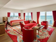The bedroom of a suite at Faena Hotel Miami Beach.
