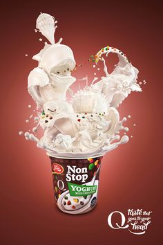 Very fun and playful ad. Creating the yogurt bursts into figures creates a playful reaction for viewers. The shadows and highlights do the illustration justice in defining each figurine.