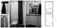 Salo Desiginissa keväällä suunniteltu 80-luvun rivitaloasunnon kylpyhuoneen uudistaminen. Sinkkumiehelle suunniteltiin valoisa ja ajaton kylpyhuone. Remontin toteutti Sähköasennus Jyrki Lehtovirta.