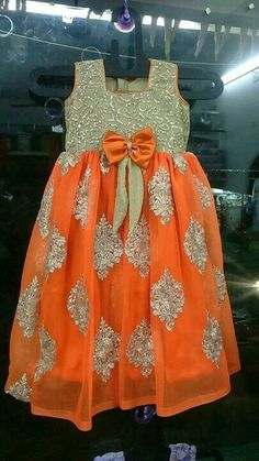 Beautiful Orange and Gold Dress Kids Indian Wear, Kids Ethnic Wear, Kids Dress Wear, Baby Dress, Kids Gown, Kids Wear, Frocks For Girls, Kids Frocks, Little Girl Dresses