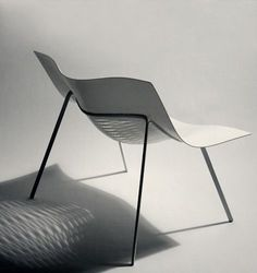 "jamiemclellan: "" Tim Miller "" Using Laser cutting in a clever way to make the plastic bend and form into a chair. Tim Miller - lecturer and designer at Victoria University. Design Furniture, Fine Furniture, Contemporary Furniture, Chair Design, Chaise Chair, Armchair, Industrial Chair, Industrial Design, Plastic Design"