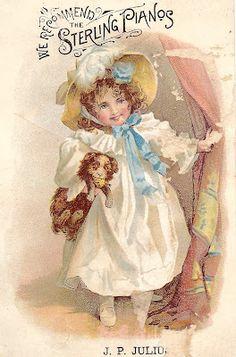 Free Printable – Vintage Girl with Dog Card